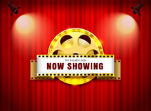 Theater sign film roll on curtain with spotlight vector illustra. Tion Royalty Free Stock Photos