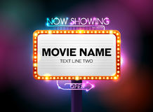 Theater sign and neon light Royalty Free Stock Photography