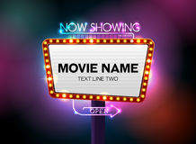 Theater sign and neon light. Vector illustration Royalty Free Stock Photos