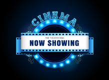 Theater sign neon retro circle style royalty free illustration