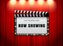Theater sign slate on curtain spot light Stock Photos
