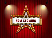 Theater sign star with spotlight. Theater sign star shape on curtain with spotlight vector illustration Stock Images