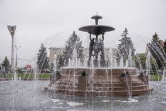 Theater Square with a fountain in the center.Sculptor E.Vucetic stock photography
