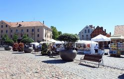 Theater square in Klaipeda town, Lithuania Royalty Free Stock Photography
