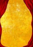 Theater-Stadium mit rotem Vorhang, goldener Hintergrund Stockbild