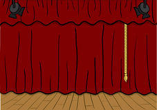 Theater stage. Vector illustration of a theater stage, curtains down Stock Photography