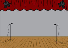 Theater stage. Vector theater stage with curtains up and microphones Stock Image