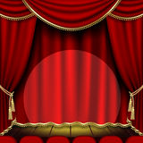 Theater stage. With red curtain. Clipping Mask Royalty Free Stock Photography