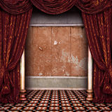 Theater stage. With red Curtain Royalty Free Stock Photography