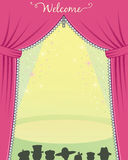 Theater  stage. Theater stage with zipper curtains and audience waiting Royalty Free Stock Images