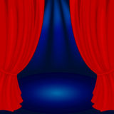 Theater stage. Illustration of a red stage with spot lights Royalty Free Stock Photos