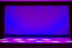 Theater stage. Illuminated with blue light empty theater stage Stock Images