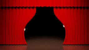 Theater stage. Red curtain on theater stage Royalty Free Stock Photography