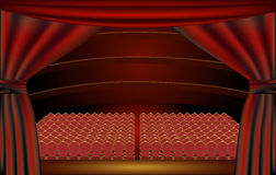 Theater stage, audience. View of a theater audience hall from the stage through the curtains Royalty Free Stock Photography