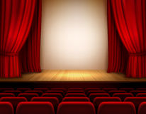 Theater stage background. Theater stage with red velvet open retro style curtain background vector illustration Royalty Free Stock Photo