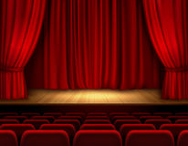 Theater stage background. Theater stage with red velvet open retro style curtain background vector illustration Royalty Free Stock Photos