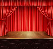 Theater stage background. Theater stage with seats red velvet open retro style curtain background vector illustration Royalty Free Stock Photography