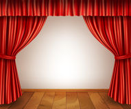 Theater stage background. Theater stage with wooden floor red velvet open retro style curtain isolated on white background vector illustration Stock Photos