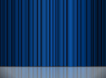 Theater stage blue curtain Royalty Free Stock Photography