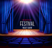 A theater stage with a blue curtain and a spotlight. Festival ni vector illustration