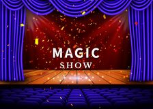 A theater stage with a blue curtain and a spotlight and wooden floor. Magic Show poster. Vector.  Stock Photos