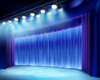 Theater stage with blue curtain. Vector illustration. Theater auditorium with stage curtain. Vector illustration Stock Images