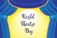 A theater stage with a blue curtain Royalty Free Stock Photos