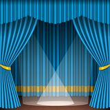 Theater stage with blue curtains entertainment spotlights theatrical scene interior old opera performance background Royalty Free Stock Images