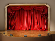 Theater stage with closed red curtain. 3D illustration.  Stock Photos