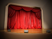 Theater stage with closed red curtain. 3D illustration.  Royalty Free Stock Photos