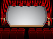 Theater stage. Couple minutes before performance. Vector illustration Royalty Free Stock Photo