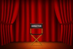 Theater stage with curtain with chair for director. Cinema, thea. Cinema, theater and show set. Theater stage with curtain with chair for director. Vector Royalty Free Stock Photo