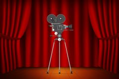 Theater stage with curtain with realistic camera on tripod. Cine Stock Photos