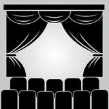 Theater stage, curtain and rows of chairs stock illustration