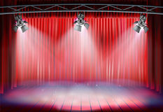 Theater stage with the curtain. Vector illustration. Theater stage with red curtain. Vector illustration Stock Images