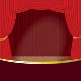 Theater stage curtain vector template. Open theater  red silk velvet curtains and draperies stage decoration design. Vector template poster realistic template Royalty Free Stock Photo
