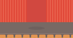 Theater stage with curtains, seats and spotlight. Theater stage with curtains, seats and spotlight vector flat design illustration. Horizontal layout Stock Image