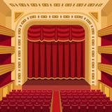 Theater stage with curtains entertainment spotlights theatrical scene interior old opera performance background vector. Theater stage with curtains and Royalty Free Stock Image