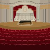 Theater stage with curtains entertainment spotlights theatrical scene interior old opera performance background vector. Theater stage with curtains and Royalty Free Stock Images