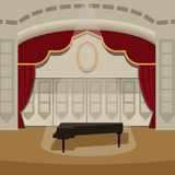 Theater stage with curtains entertainment spotlights theatrical scene interior old opera performance background vector. Theater stage with curtains and Royalty Free Stock Photos