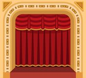 Theater stage with curtains entertainment spotlights theatrical scene interior old opera performance background vector. Theater stage with curtains and Stock Photo