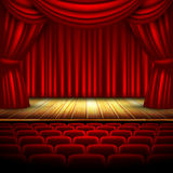 Theater stage. Theater hall with stage and curtain, this illustration may be useful as designer work Stock Image