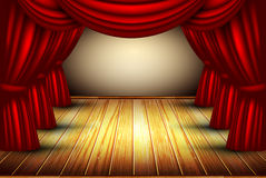 Theater stage. Theater hall with stage and curtain, this illustration may be useful as designer work Stock Images
