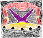 Theater stage. Highly detailed hand drawn theater stage with a huge amount of strokes Stock Photography