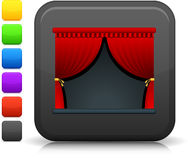 Theater stage icon on square internet button Royalty Free Stock Images