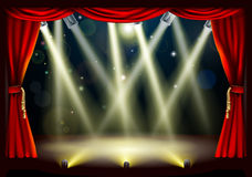 Theater stage lights. Illustration of a theater stage with lots of stage lights or spotlights with footlights Royalty Free Stock Image