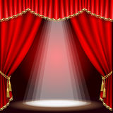 Theater stage. Mesh. Theater stage  with red curtain. Clipping Mask. Mesh Stock Photos
