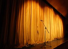 Theater stage with microphone Stock Images