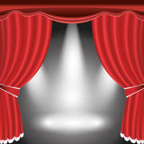 Theater stage with open red curtain and spotlight Royalty Free Stock Photography