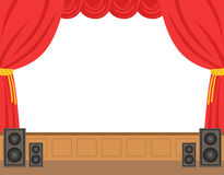Theater stage with opened red curtain. Colorful cartoon character vector Illustration Stock Image